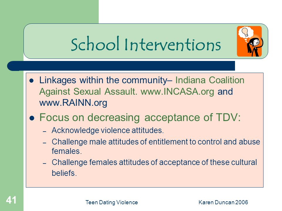 Teen Dating ViolenceKaren Duncan 2006 41 School Interventions Linkages within the community– Indiana Coalition Against Sexual Assault.