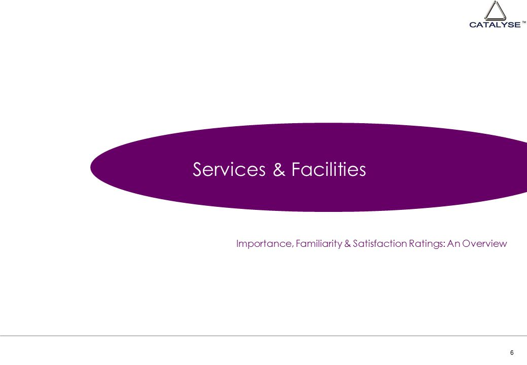 6 Services & Facilities Importance, Familiarity & Satisfaction Ratings: An Overview