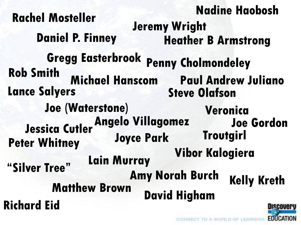 Michael Hanscom Heather B Armstrong Jessica Cutler Daniel P.
