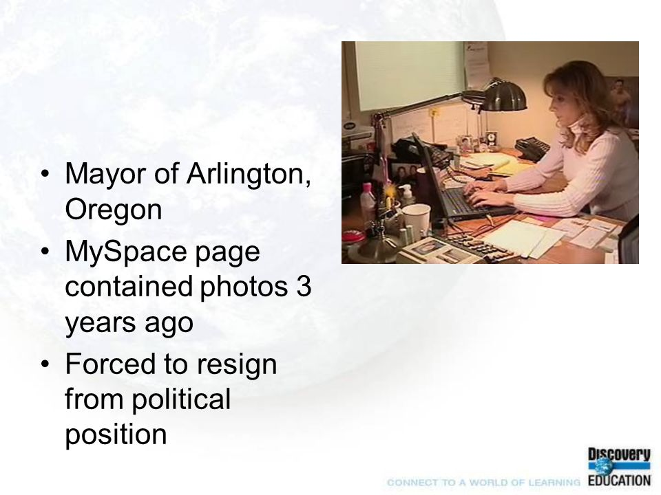 Mayor of Arlington, Oregon MySpace page contained photos 3 years ago Forced to resign from political position