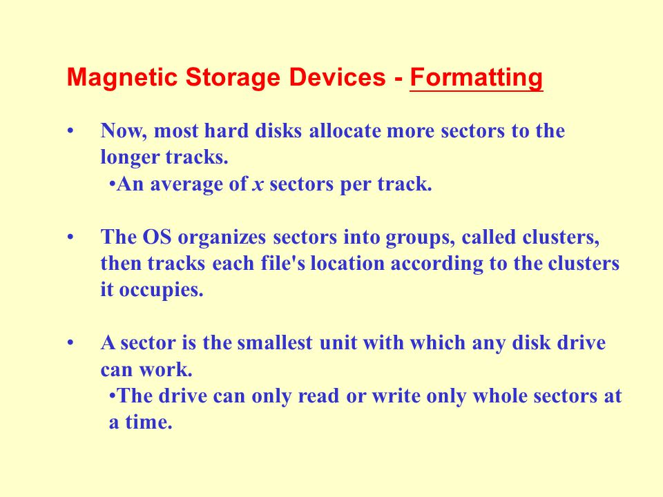 Magnetic Storage Devices - Formatting Before a magnetic disk can be used, it must be formatted—a process that maps the disk's surface and determines h