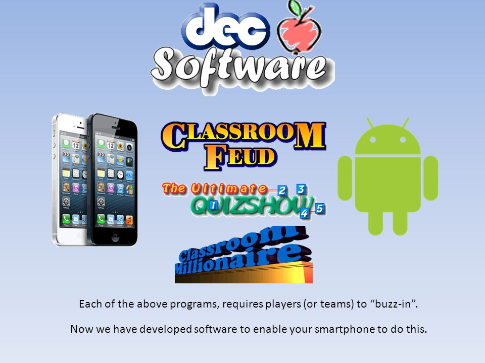 The purpose of this PowerPoint presentation, is to help the user make the connection between a SmartPhone (iPhone or Droid) and software games written by DEC Software.