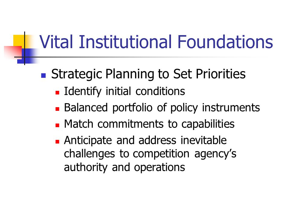 Vital Institutional Foundations Strategic Planning to Set Priorities Identify initial conditions Balanced portfolio of policy instruments Match commitments to capabilities Anticipate and address inevitable challenges to competition agency's authority and operations