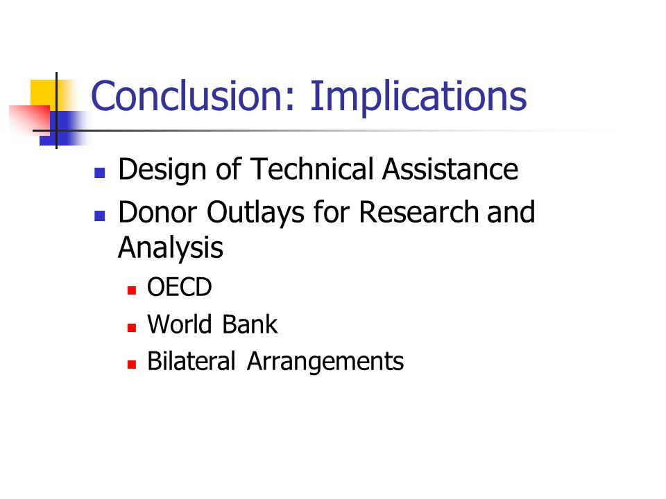Conclusion: Implications Design of Technical Assistance Donor Outlays for Research and Analysis OECD World Bank Bilateral Arrangements