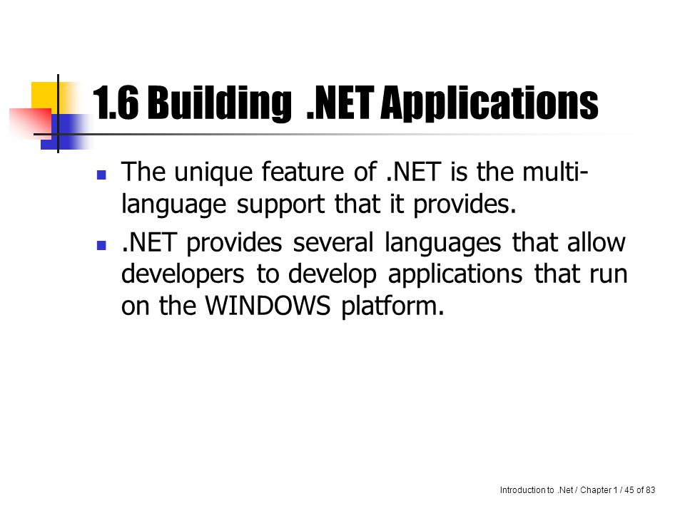 Introduction to.Net / Chapter 1 / 44 of 83.Net – taking DC one step further