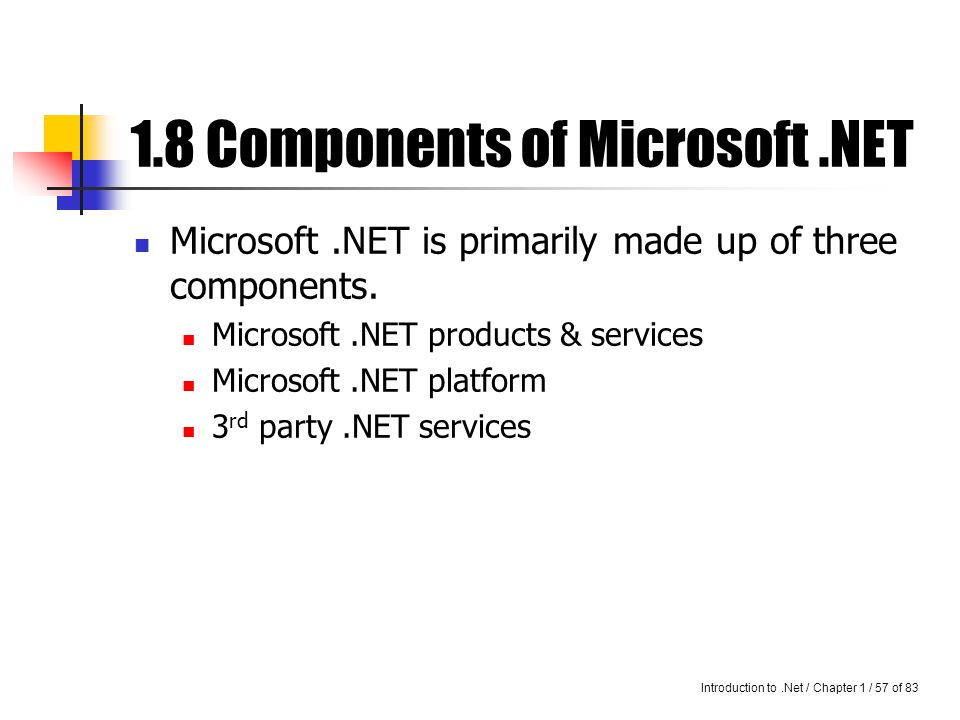 Introduction to.Net / Chapter 1 / 56 of 83 Today, the CLR is built for the windows platform.