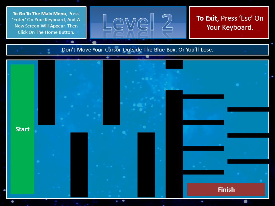 X Click on a dark green triangle to start playing level 3.