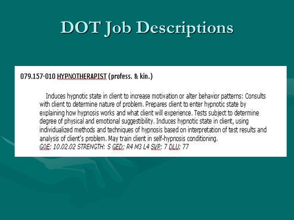 DOT Job Descriptions