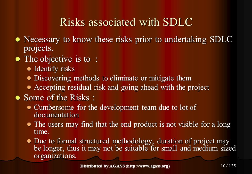10 / 125 Risks associated with SDLC Necessary to know these risks prior to undertaking SDLC projects. Necessary to know these risks prior to undertaki