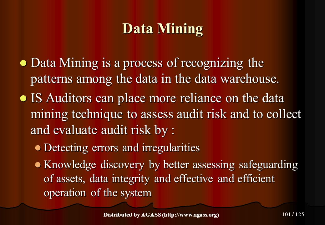 101 / 125 Data Mining Data Mining is a process of recognizing the patterns among the data in the data warehouse. Data Mining is a process of recognizi