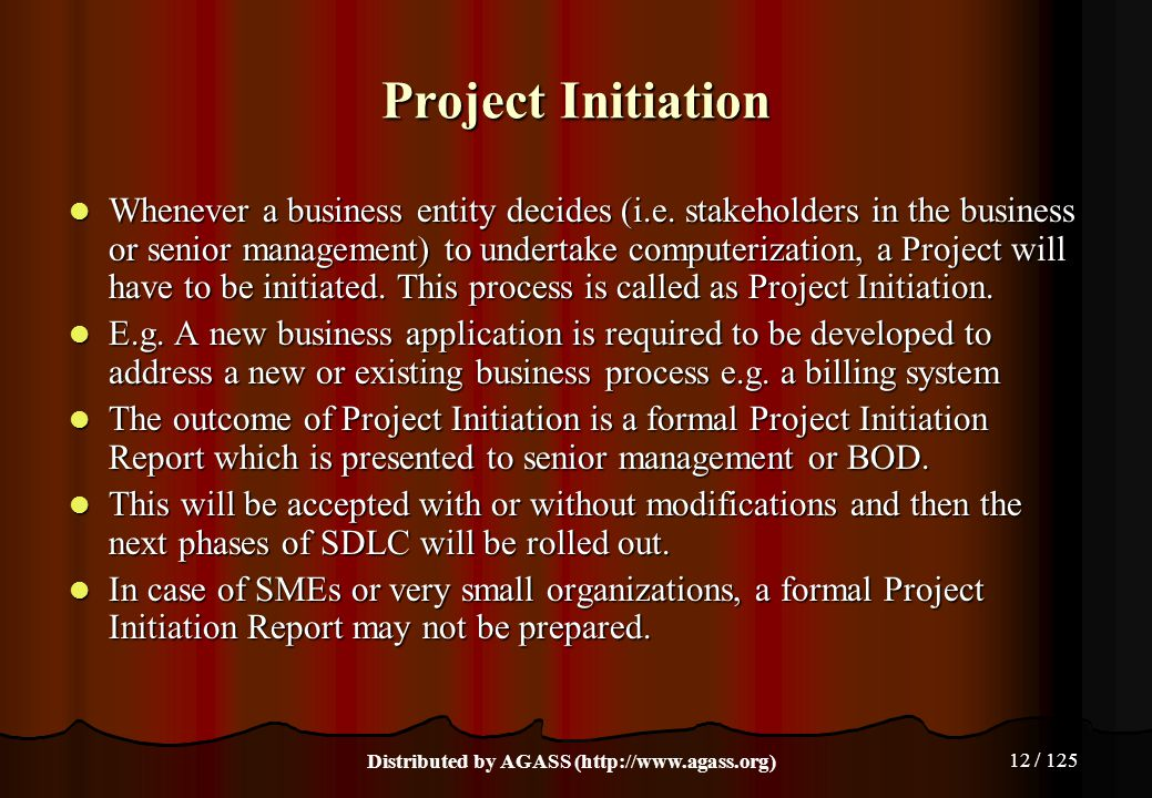 12 / 125 Project Initiation Whenever a business entity decides (i.e. stakeholders in the business or senior management) to undertake computerization,