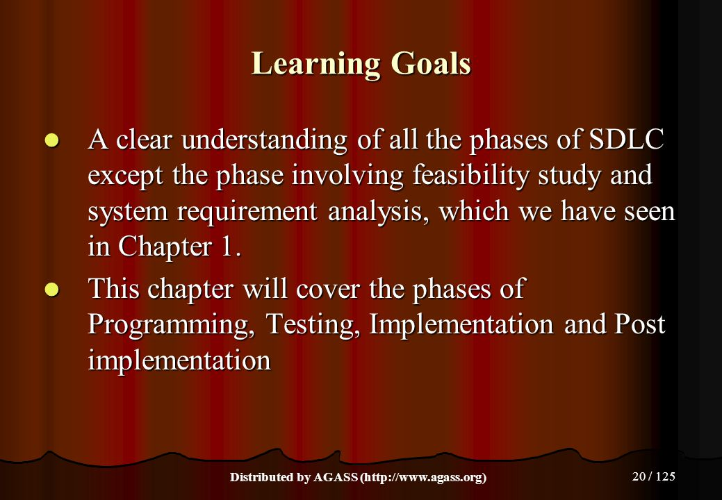 20 / 125 Learning Goals A clear understanding of all the phases of SDLC except the phase involving feasibility study and system requirement analysis,
