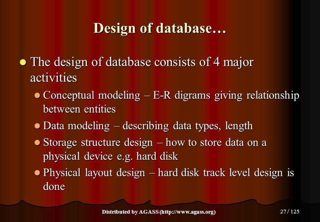 27 / 125 Design of database… The design of database consists of 4 major activities The design of database consists of 4 major activities Conceptual mo