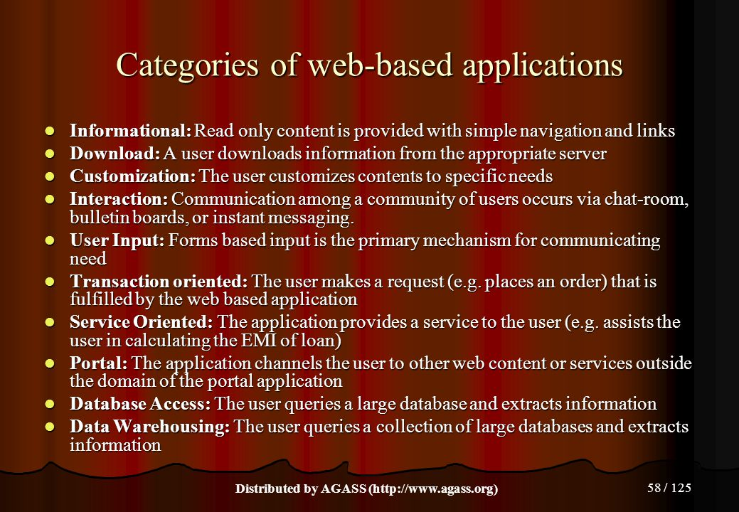 58 / 125 Categories of web-based applications Informational: Read only content is provided with simple navigation and links Informational: Read only c