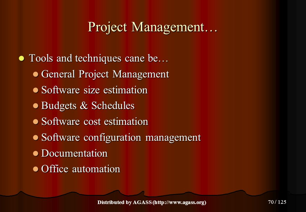 70 / 125 Project Management… Tools and techniques cane be… Tools and techniques cane be… General Project Management General Project Management Softwar