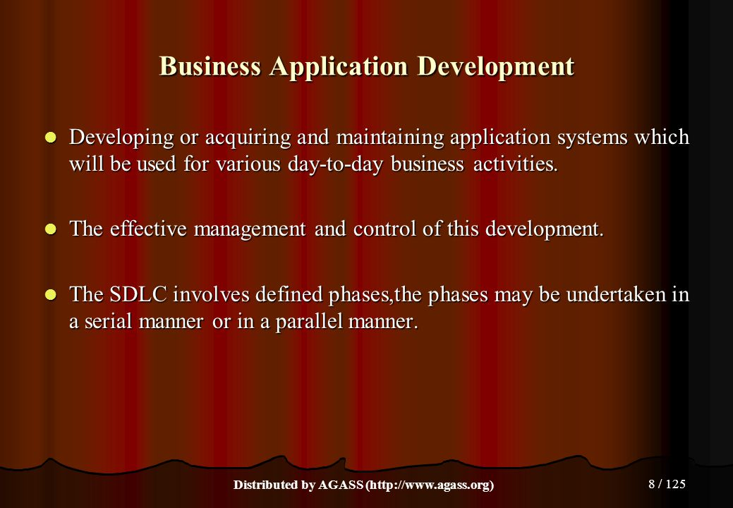 8 / 125 Business Application Development Developing or acquiring and maintaining application systems which will be used for various day-to-day busines