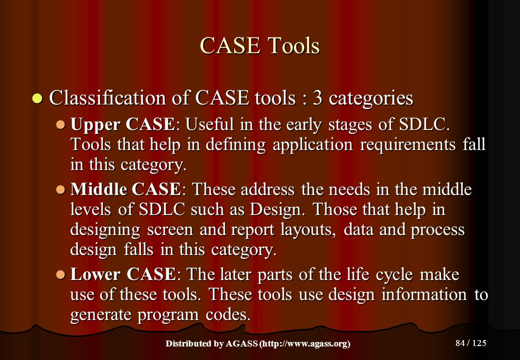 84 / 125 CASE Tools Classification of CASE tools : 3 categories Classification of CASE tools : 3 categories Upper CASE: Useful in the early stages of