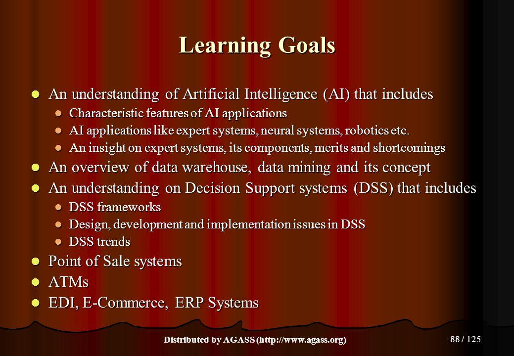 88 / 125 Learning Goals An understanding of Artificial Intelligence (AI) that includes An understanding of Artificial Intelligence (AI) that includes