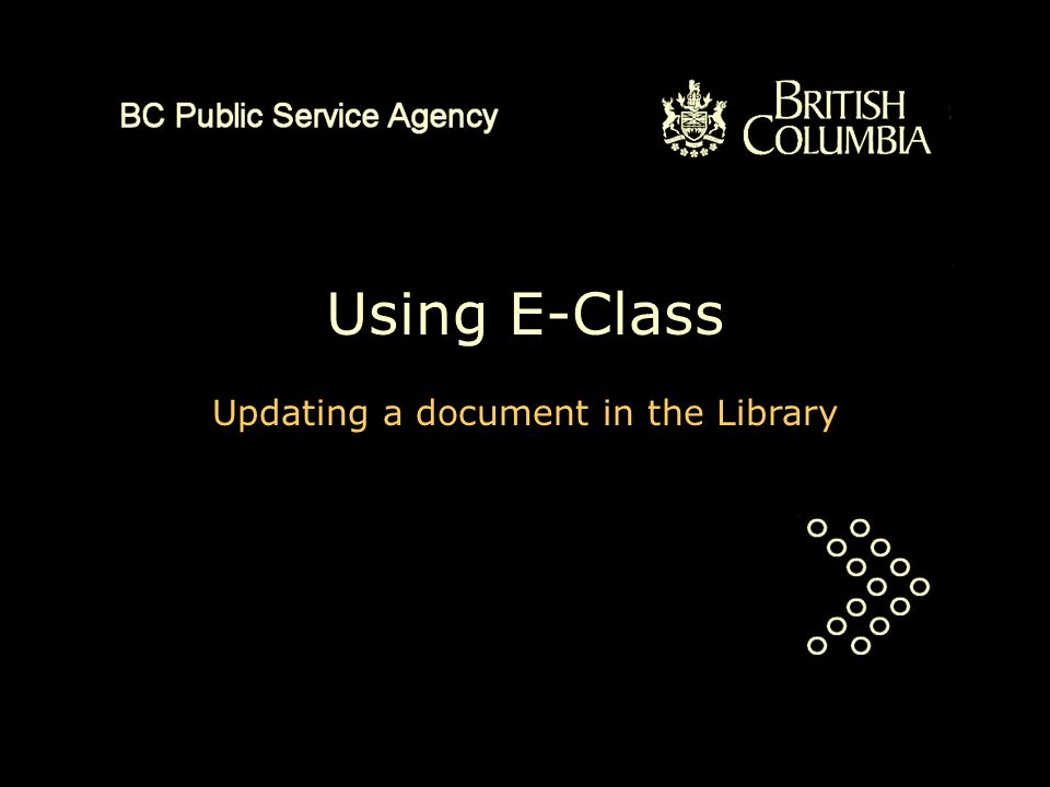 Using E-Class Updating a document in the Library