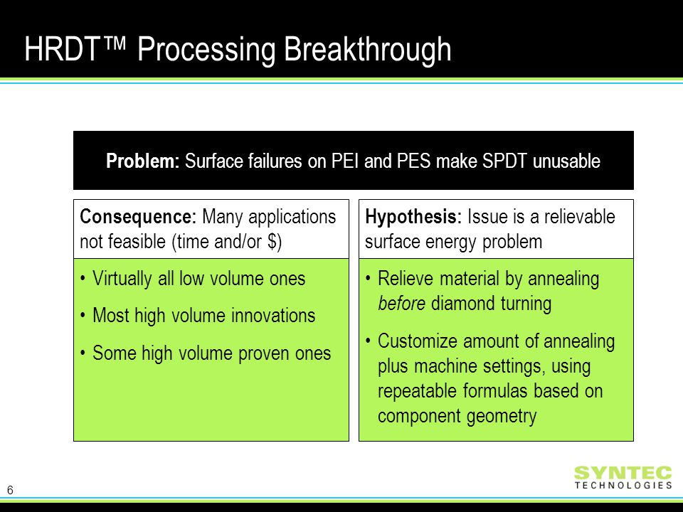 6 HRDT™ Processing Breakthrough Consequence: Many applications not feasible (time and/or $) Virtually all low volume ones Most high volume innovations Some high volume proven ones Hypothesis: Issue is a relievable surface energy problem Relieve material by annealing before diamond turning Customize amount of annealing plus machine settings, using repeatable formulas based on component geometry Problem: Surface failures on PEI and PES make SPDT unusable