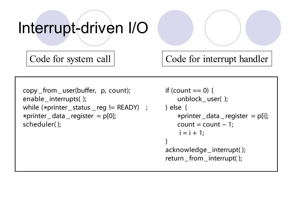 Interrupt-driven I/O Code for system callCode for interrupt handler
