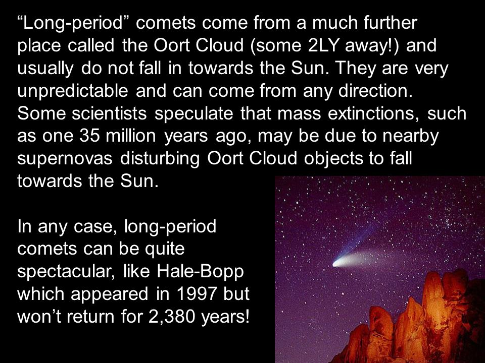 Long-period comets come from a much further place called the Oort Cloud (some 2LY away!) and usually do not fall in towards the Sun.