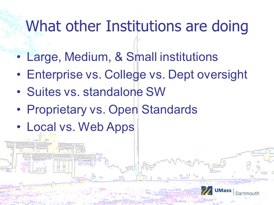 What other Institutions are doing Large, Medium, & Small institutions Enterprise vs.