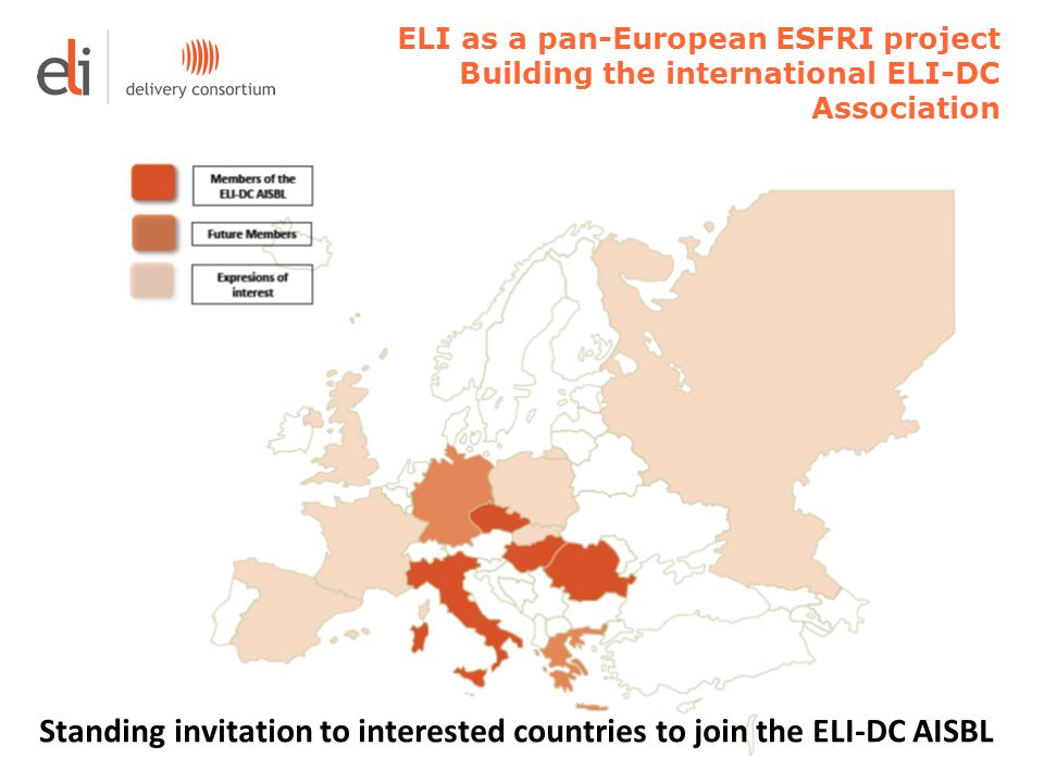 ELI as a pan-European ESFRI project Building the international ELI-DC Association Standing invitation to interested countries to join the ELI-DC AISBL