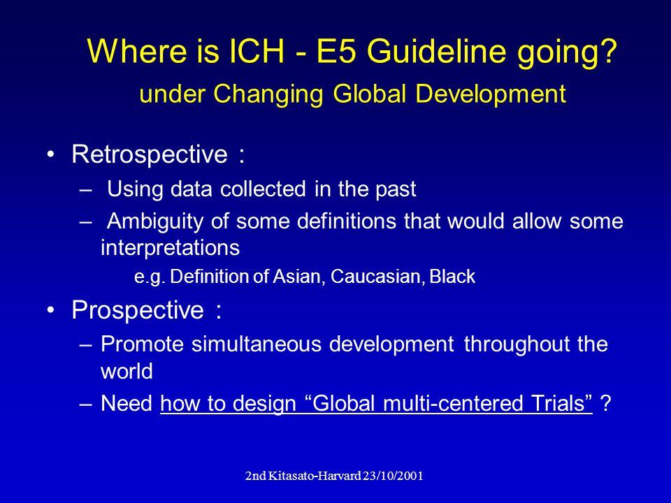 2nd Kitasato-Harvard 23/10/2001 Where is ICH - E5 Guideline going.