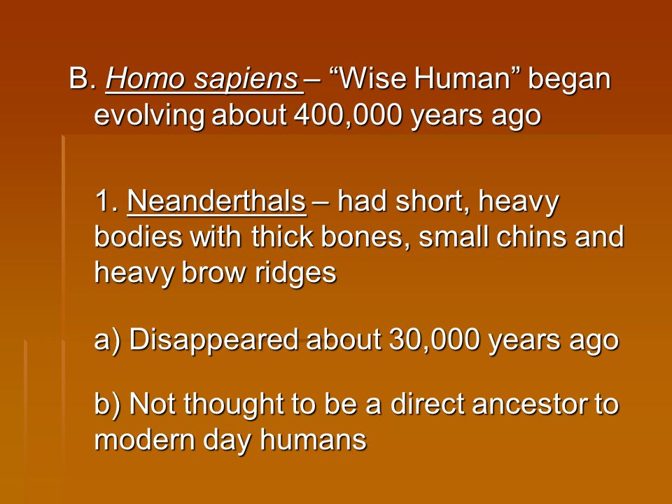 "B. Homo sapiens – ""Wise Human"" began evolving about 400,000 years ago 1. Neanderthals – had short, heavy bodies with thick bones, small chins and heav"