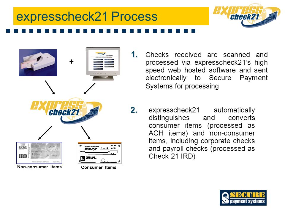 Consumer Items Non-consumer Items Checks received are scanned and processed via expresscheck21's high speed web hosted software and sent electronically to Secure Payment Systems for processing expresscheck21 automatically distinguishes and converts consumer items (processed as ACH items) and non-consumer items, including corporate checks and payroll checks (processed as Check 21 IRD) 1.