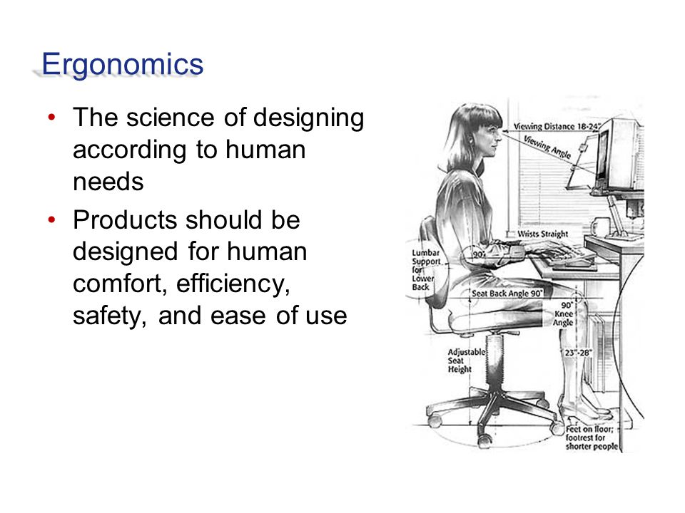 Ergonomics The science of designing according to human needs Products should be designed for human comfort, efficiency, safety, and ease of use