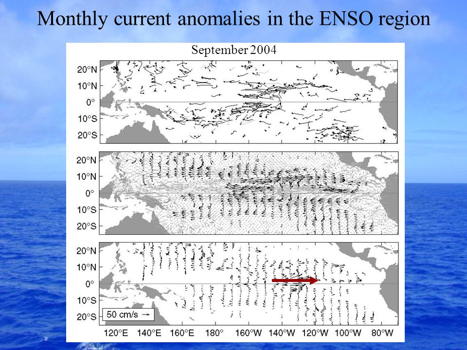 Monthly current anomalies in the ENSO region September 2004