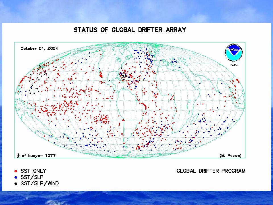 Drifters deployed September 2003 – August 2004 Tropical Oceans (20°S – 20°N) Pacific: 169Atlantic: 100Indian: 18