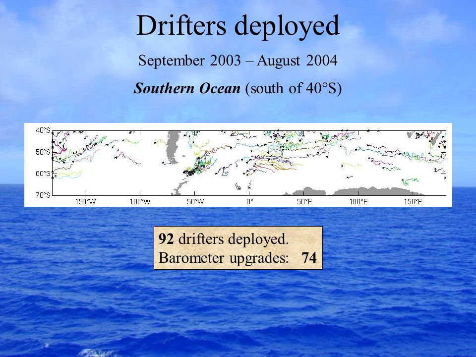 Drifters deployed September 2003 – August 2004 Southern Ocean (south of 40°S) 92 drifters deployed.