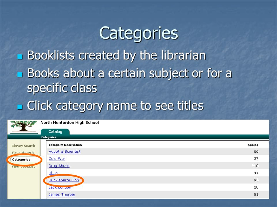 Categories Booklists created by the librarian Booklists created by the librarian Books about a certain subject or for a specific class Books about a certain subject or for a specific class Click category name to see titles Click category name to see titles