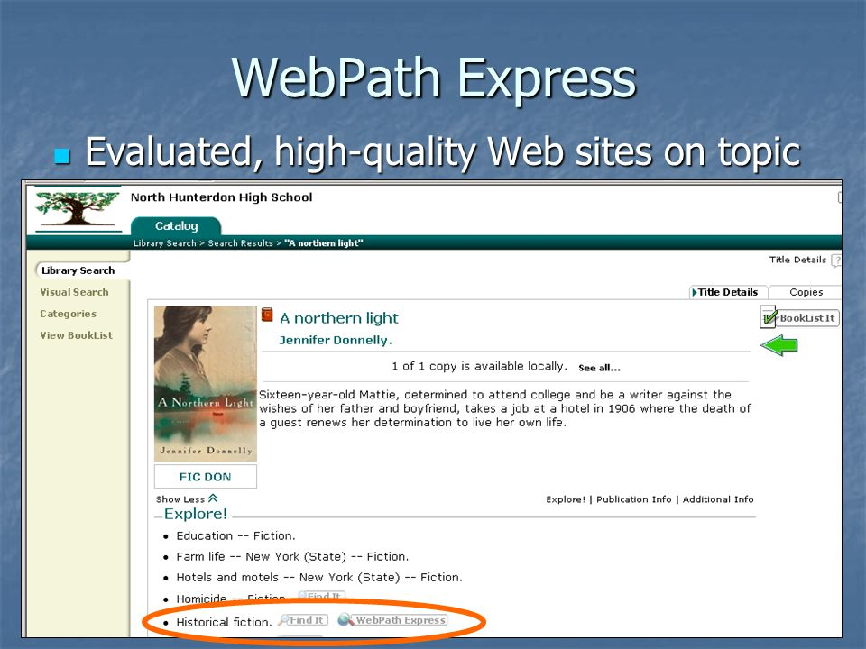 Sample WebPath Express results