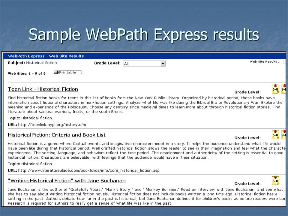 Sample WebPath Express results