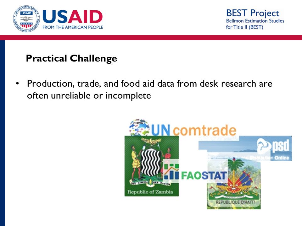 Practical Challenge Production, trade, and food aid data from desk research are often unreliable or incomplete