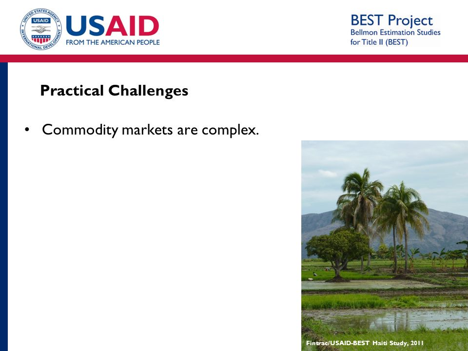 Practical Challenges Commodity markets are complex. Fintrac/USAID-BEST Haiti Study, 2011