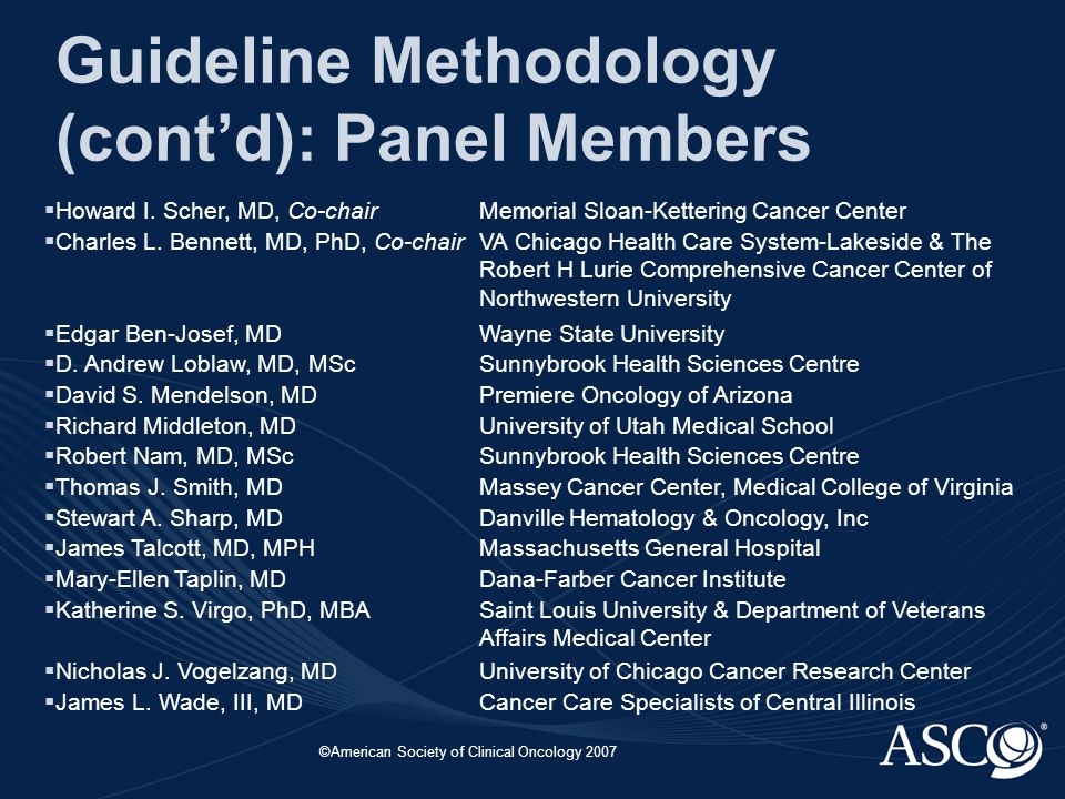 ©American Society of Clinical Oncology 2007 Guideline Methodology (cont'd): Panel Members  Howard I.