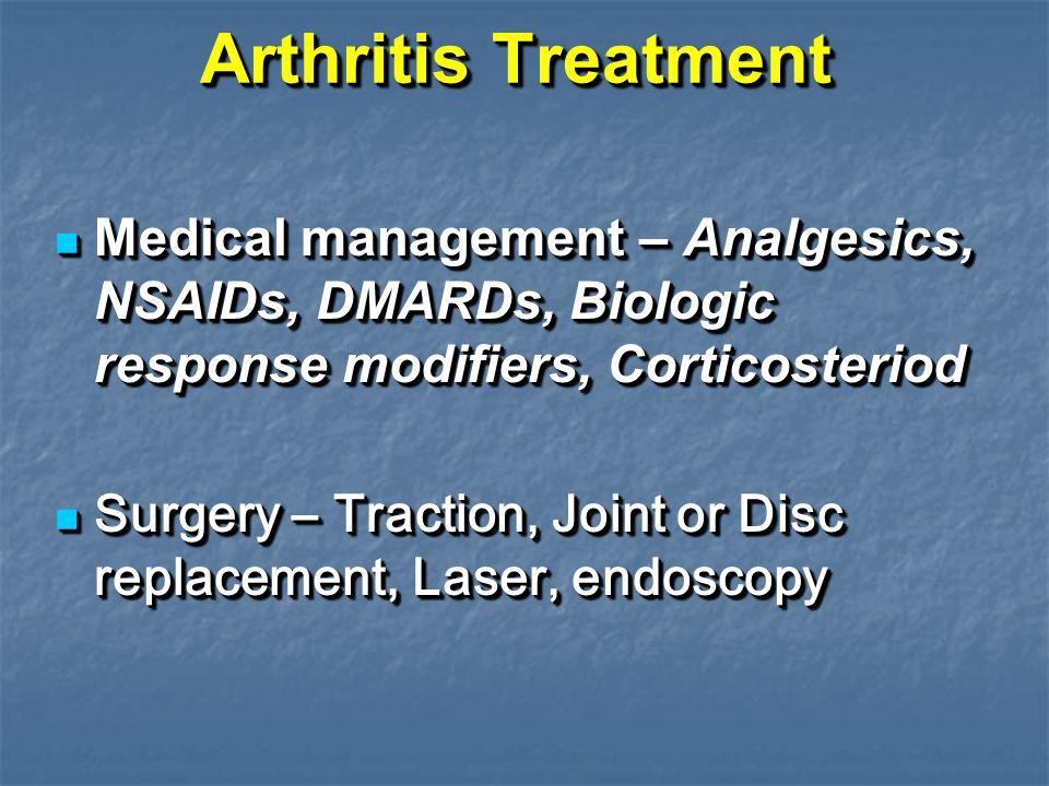 Arthritis Treatment Medical management – Analgesics, NSAIDs, DMARDs, Biologic response modifiers, Corticosteriod Medical management – Analgesics, NSAI