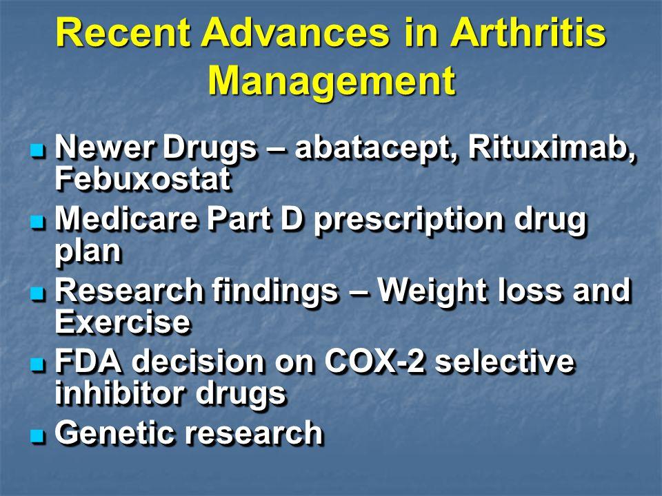 Recent Advances in Arthritis Management Newer Drugs – abatacept, Rituximab, Febuxostat Newer Drugs – abatacept, Rituximab, Febuxostat Medicare Part D
