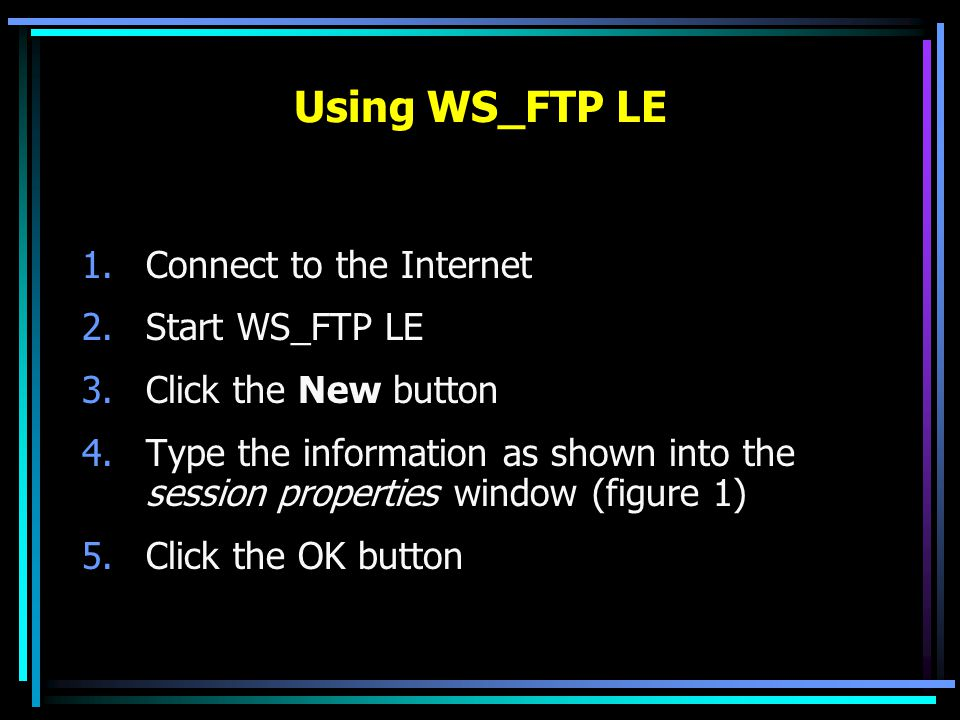 Updating Your Web Site (cont.) To modify a file that is already uploaded, just upload the modified copy and it will replace the original copy Download by selecting a file from the remote window and clicking the  arrow.