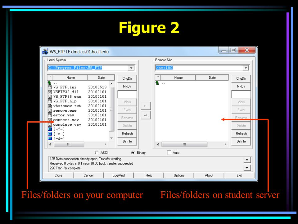 Figure 2 Files/folders on your computerFiles/folders on student server