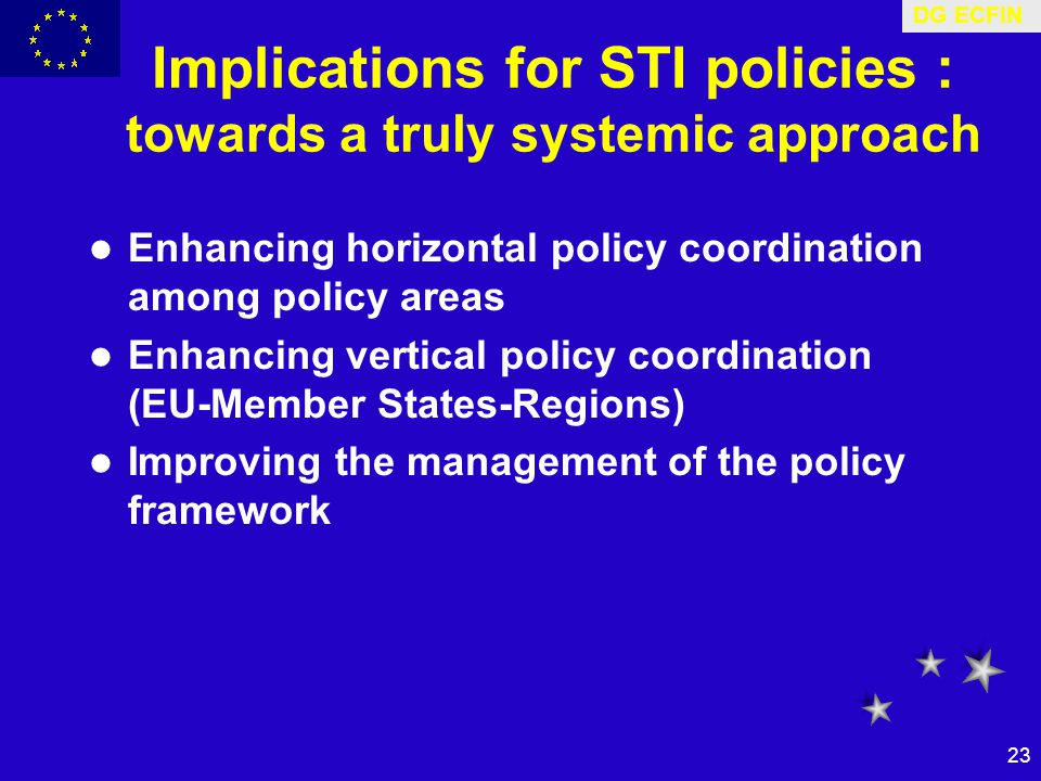 DG ECFIN 23 Implications for STI policies : towards a truly systemic approach Enhancing horizontal policy coordination among policy areas Enhancing vertical policy coordination (EU-Member States-Regions) Improving the management of the policy framework