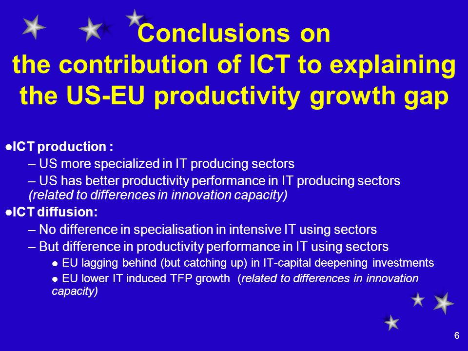 6 Conclusions on the contribution of ICT to explaining the US-EU productivity growth gap ICT production : – US more specialized in IT producing sectors – US has better productivity performance in IT producing sectors (related to differences in innovation capacity) ICT diffusion: – No difference in specialisation in intensive IT using sectors – But difference in productivity performance in IT using sectors EU lagging behind (but catching up) in IT-capital deepening investments EU lower IT induced TFP growth (related to differences in innovation capacity)