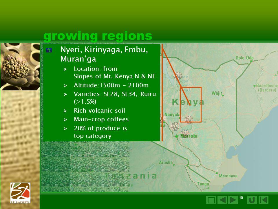 10 growing regions Nyeri, Kirinyaga, Embu, Muran'ga  Location: from Slopes of Mt.