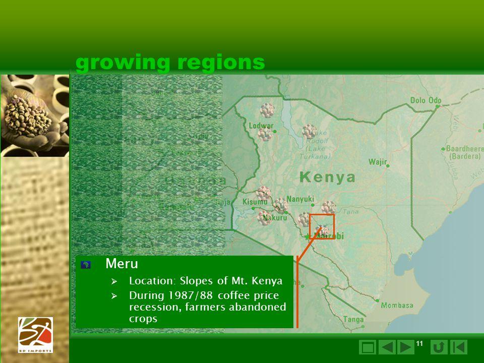 11 growing regions Meru  Location: Slopes of Mt.