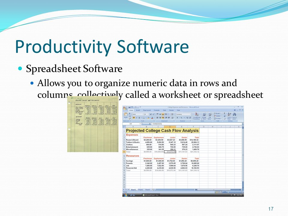 Productivity Software Spreadsheet Software Allows you to organize numeric data in rows and columns, collectively called a worksheet or spreadsheet 17